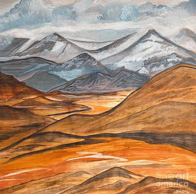 Lavender Drawing - Alaska In November by Barbara Donovan