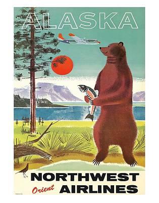 Kodiak Digital Art - Alaska Kodiak Brown Grizzly Bear Vintage Airline Travel Poster by Retro Graphics