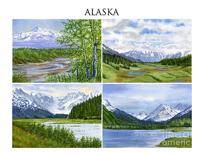 Glacier Alaska Painting - Alaska Landscape Poster Collage 3 With Heading by Sharon Freeman