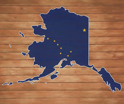 Mixed Media - Alaska Map And Flag On Wood by Dan Sproul