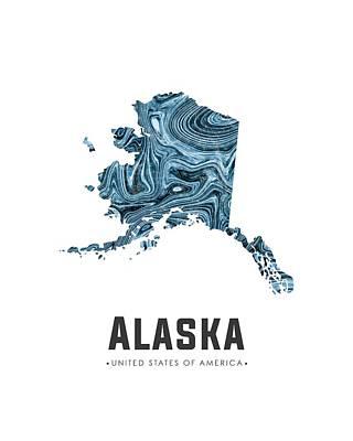 Alaska Mixed Media - Alaska Map Art Abstract In Blue by Studio Grafiikka