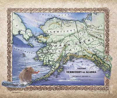 Painting - Alaska Map by Lisa Middleton