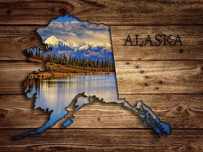 Photograph - Alaska Map Collage by Rick Berk