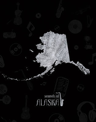 Rock And Roll Royalty-Free and Rights-Managed Images - Alaska Map Music Notes 2 by Bekim Art