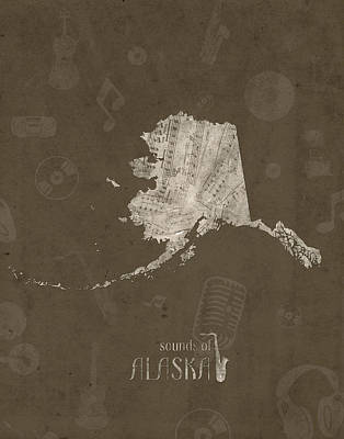 Rock And Roll Royalty-Free and Rights-Managed Images - Alaska Map Music Notes 3 by Bekim Art