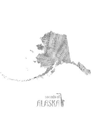 Rock And Roll Royalty-Free and Rights-Managed Images - Alaska Map Music Notes  by Bekim Art