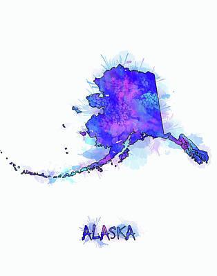 Alaska Digital Art - Alaska Map Watercolor 2 by Bekim Art