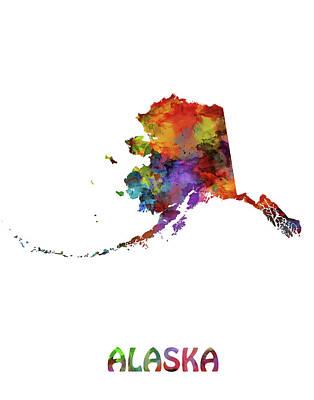 Alaska Digital Art - Alaska Map Watercolor by Bekim Art