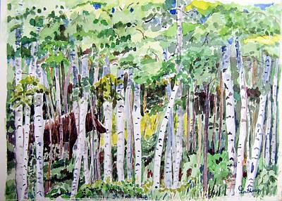 Alaska - Moose In Birches Art Print by Christine Lathrop