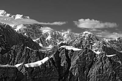 Photograph - Alaska Mountain Range Black And White by Waterdancer