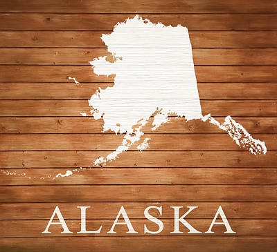 Mixed Media - Alaska Rustic Map On Wood by Dan Sproul