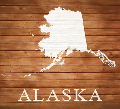 Mixed Media - Alaska Rustic Map On Wood by Dan Sproul