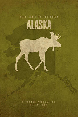 Alaska State Facts Minimalist Movie Poster Art Art Print by Design Turnpike