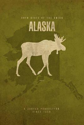 Alaska Mixed Media - Alaska State Facts Minimalist Movie Poster Art by Design Turnpike