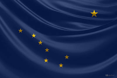 Digital Art - Alaska State Flag by Serge Averbukh
