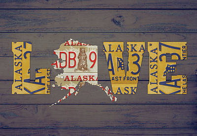 Alaska Mixed Media - Alaska State Love License Plate Art Phrase by Design Turnpike