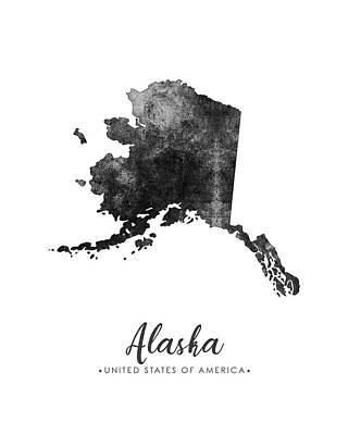 Alaska Mixed Media - Alaska State Map Art - Grunge Silhouette by Studio Grafiikka