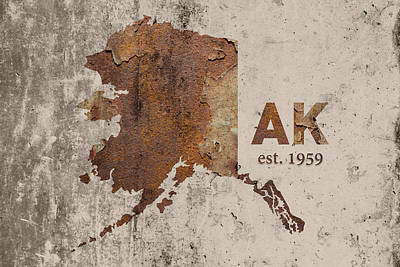 Alaska State Map Industrial Rusted Metal On Cement Wall With Founding Date Series 018 Art Print by Design Turnpike