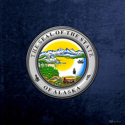 Digital Art - Alaska State Seal Over Blue Velvet by Serge Averbukh