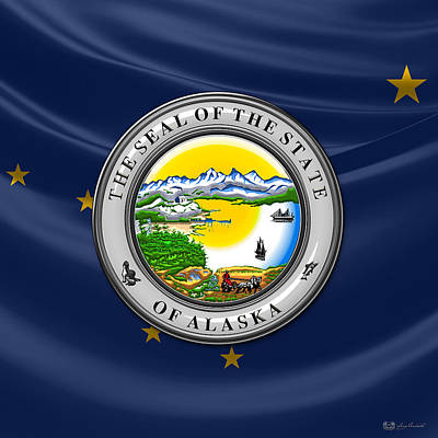 Digital Art - Alaska State Seal Over Flag by Serge Averbukh