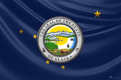 Digital Art - Alaska State Seal Over State Flag by Serge Averbukh