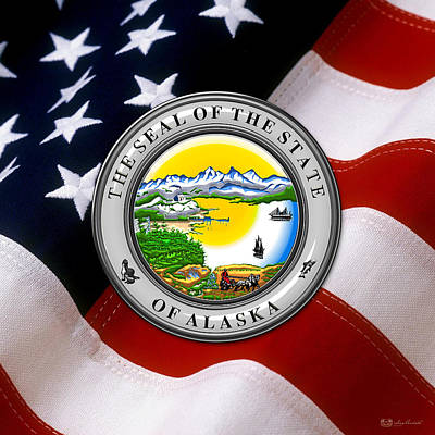 Digital Art - Alaska State Seal Over U.s. Flag by Serge Averbukh