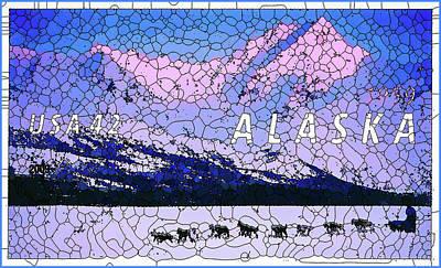 Mushing Painting - Alaska Statehood Centenary by Lanjee Chee