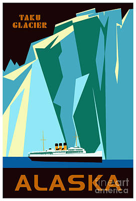 Fjord Drawing - Alaska Taku Glacier Retro Vintage Style Travel by Heidi De Leeuw