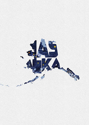 Alaska Digital Art - Alaska Typographic Map Flag by Inspirowl Design