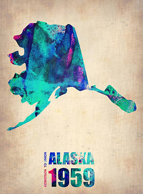 Us State Map Digital Art - Alaska Watercolor Map by Naxart Studio