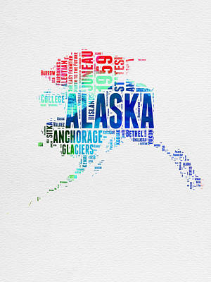 Alaska Watercolor Word Cloud  Art Print by Naxart Studio