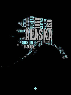 Alaska Word Cloud 1 Art Print by Naxart Studio