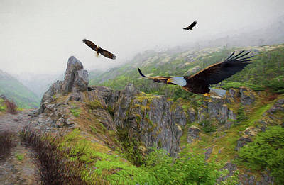 Mixed Media - Alaskan Eagles by Steven Richardson