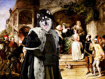 Painting - Alaskan Malamute Art Canvas Print - Many Wives Of Windsor by Sandra Sij