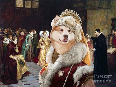 Painting - Alaskan Malamute Art Canvas Print - Performing An Experiment Before Queen Elizabeth by Sandra Sij