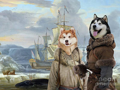 Painting - Alaskan Malamute Art Canvas Print - Whaler In The Ice Sea by Sandra Sij