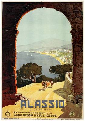 Royalty-Free and Rights-Managed Images - Alassio, Italy - Western Riviera - Retro travel Poster - Vintage Poster by Studio Grafiikka