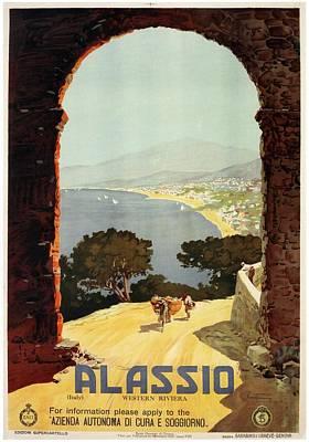 Western Art Mixed Media - Alassio, Italy - Western Riviera - Retro Travel Poster - Vintage Poster by Studio Grafiikka