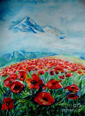 Poppies Field Drawing - Alatau by Anna  Duyunova