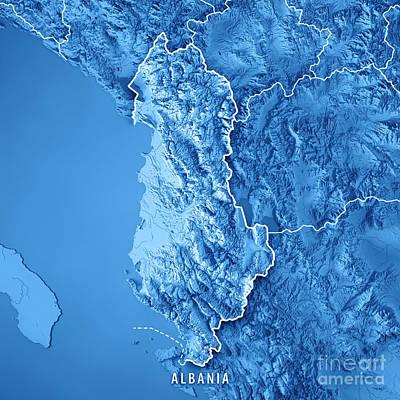 Landscape Digital Art - Albania Country 3d Render Topographic Map Blue Border by Frank Ramspott
