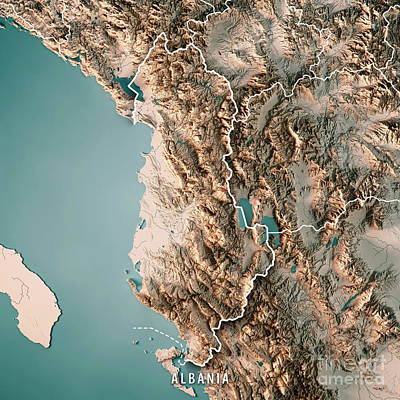 Albania Country 3d Render Topographic Map Neutral Border Art Print