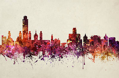 New York Skyline Drawing - Albany Cityscape 09 by Aged Pixel