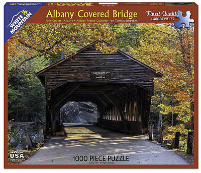 Covered Bridge Mixed Media - Albany Covered Bridge Jigsaw Puzzle by Thomas Schoeller
