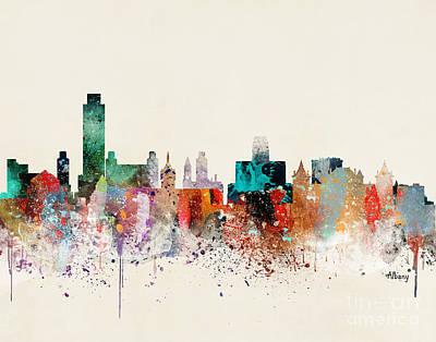 New York City Skyline Painting - Albany New York Skyline by Bleu Bri