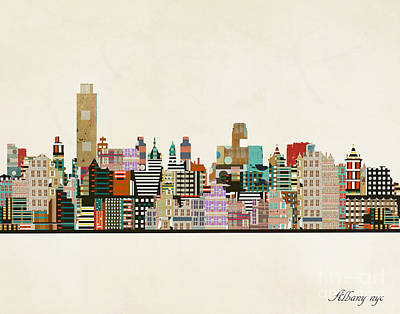 Painting - Albany New York Skyline by Bleu Bri