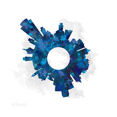 New York Digital Art - Albany Small World Cityscape Skyline Blue by Jurq Studio