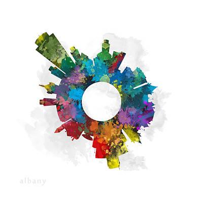 Albany Digital Art - Albany Small World Cityscape Skyline Colors by Jurq Studio