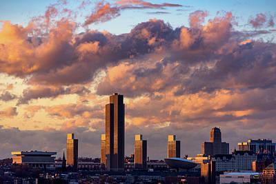 Photograph - Albany Sunset Skyline by Brad Wenskoski
