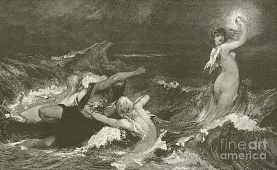 Angel Mermaids Ocean Drawing - Alberich's Pursuit Of The Nibelungen Ring by Hans Makart