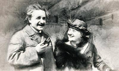 Photograph - Albert And Elsa Einstein  by Pennie  McCracken